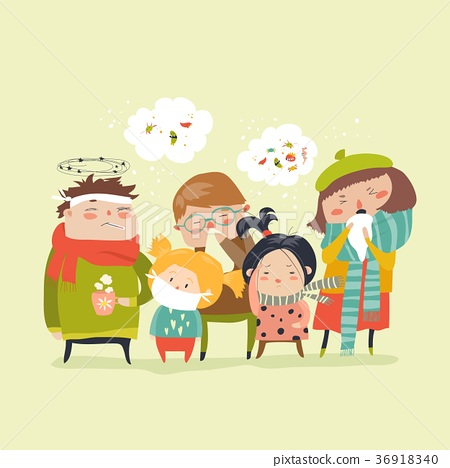 Sick children with fever, illness 36918340