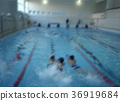 children in swimming lessons  bokeh effect 36919684