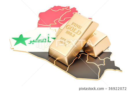 Golden reserves of Iraq concept, 3D rendering 36922072