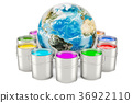 Paint cans with Earth Globe, 3D rendering 36922110
