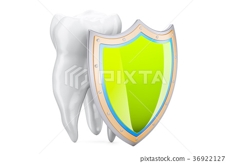 Teeth protection concept with shield, 3D rendering 36922127