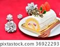 聖誕節蛋糕的圖像。 36922293