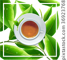 ceramic cup of tea leaves green backgroud. 36923768