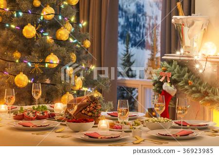 3d illustration of a Christmas family dinner table 36923985