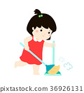 Cute girl sweeping the dust vector. 36926131