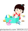 Illustration of kid girl storing toys. 36926132