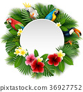 Round blank sign with birds collection 36927752