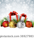 Christmas balls with gift, fir and pine cone 36927983
