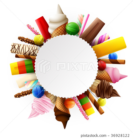 Different sweet food round frame 36928122