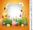 Easter eggs with blank sign 36931157