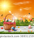 Easter eggs in the basket. Spring holidays concept 36931159