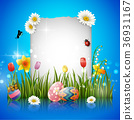 Easter eggs with blank sign 36931167