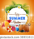 Summer background with travel accessories 36931611