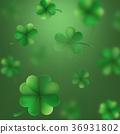 St. Patrick s Day shamrocks blur effect. EPS 10 36931802