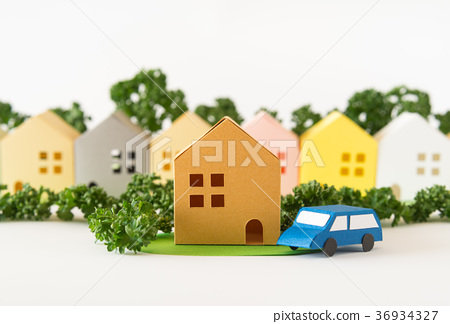 Green Town Community Town Area Residential Area Real Estate Model Paper Craft 36934327