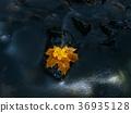 Rotten maple leaf on basalt stone in dark water 36935128