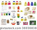 厨房材料图标。面包。食物图标。材料收集。 36936838