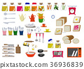 厨房材料图标。面包。食物图标。材料收集。 36936839