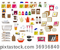 厨房材料图标。面包。食物图标。材料收集。 36936840