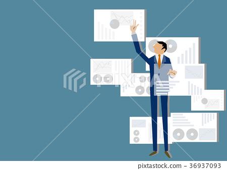 工作在虛擬現實中的商人。近期的數據處理。 36937093