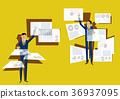 工作在虛擬現實中的商人。近期的數據處理。 36937095