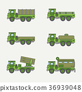 Line flat color vector icon set service staff open 36939048