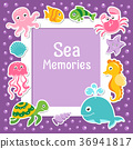 Violet border with cute sea animals. Sea frame  36941817