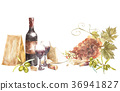 Bottles and glasses of wine and leaves of grapes 36941827