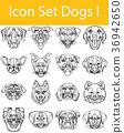 Drawn Doodle Lined Icon Set Dogs I 36942650