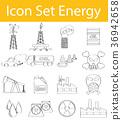 Drawn Doodle Lined Icon Set Energy I 36942658