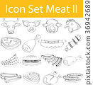 Drawn Doodle Lined Icon Set Meat II 36942689