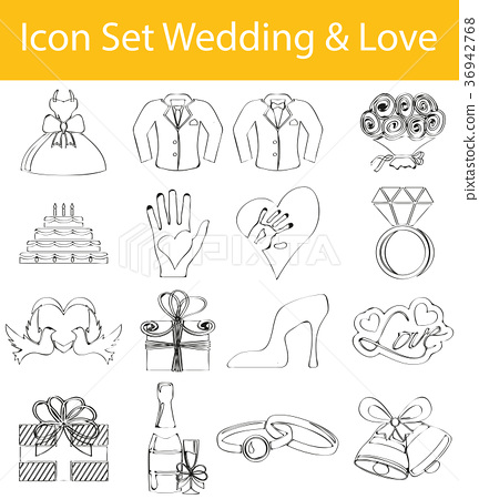 Drawn Doodle Lined Icon Set Wedding & Love 36942768