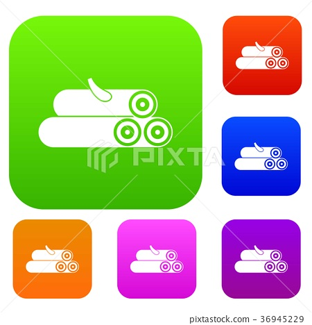 Wooden logs set collection 36945229