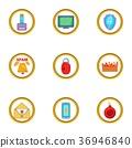 icon, set, cartoon 36946840