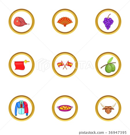 Spanish journey icons set, cartoon style 36947395