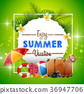 Summer holiday banner on green background 36947706