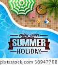 swimming pool, umbrella, with summer background 36947708