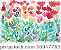 tulip field, abstract, watercolour 36947783