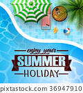swimming pool, umbrella, with summer background 36947910