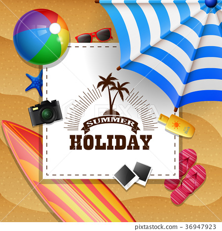 Summer beach background with holiday sign concept 36947923