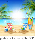 Beautiful summer beach background 36948995