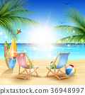 Summer holidays beach background with chair 36948997