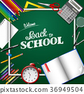 Cartoon School supplies on chalkboard background 36949504