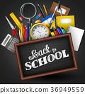 School supplies on blackboard background 36949559
