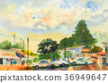 watercolor original landscape painting of market. 36949647