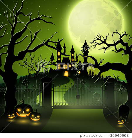 Creepy graveyard with castle and pumpkins 36949908
