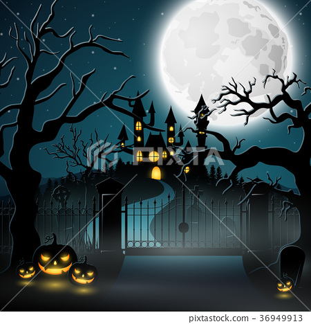 Creepy graveyard with castle and pumpkins 36949913