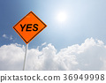 yes traffic sign in blue sunny sky 36949998
