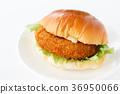 bread roll sandwich with croquette filling, baker, bread 36950066