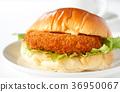 bread roll sandwich with croquette filling, baker, bread 36950067